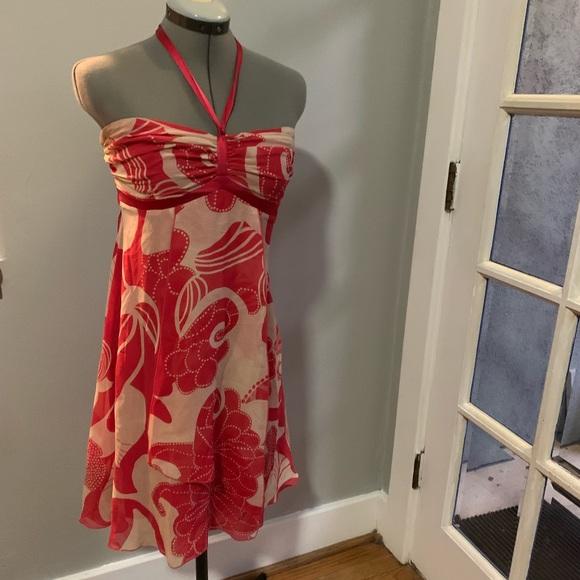 bebe Dresses & Skirts - Bebe red/white silk ribbon halter dress, Sz M